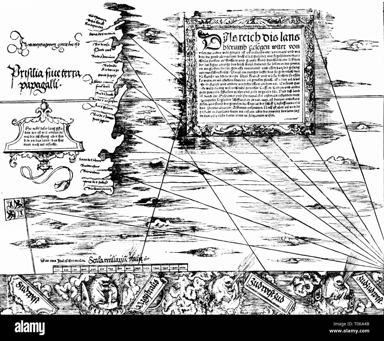 La cartographie, cartes, Brésil, Carta Marina Navigatoria Portugallensis', détail, woodcut, Allemagne, 1525, Additional-Rights Clearance-Info-Not-Available- Photo Stock