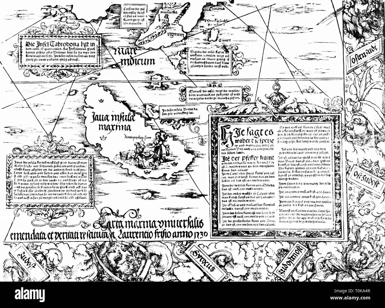 La cartographie, les cartes, l'île de Java, Carta Marina Navigatoria Portugallensis', détail, woodcut, Allemagne, 1525, Additional-Rights Clearance-Info-Not-Available- Photo Stock