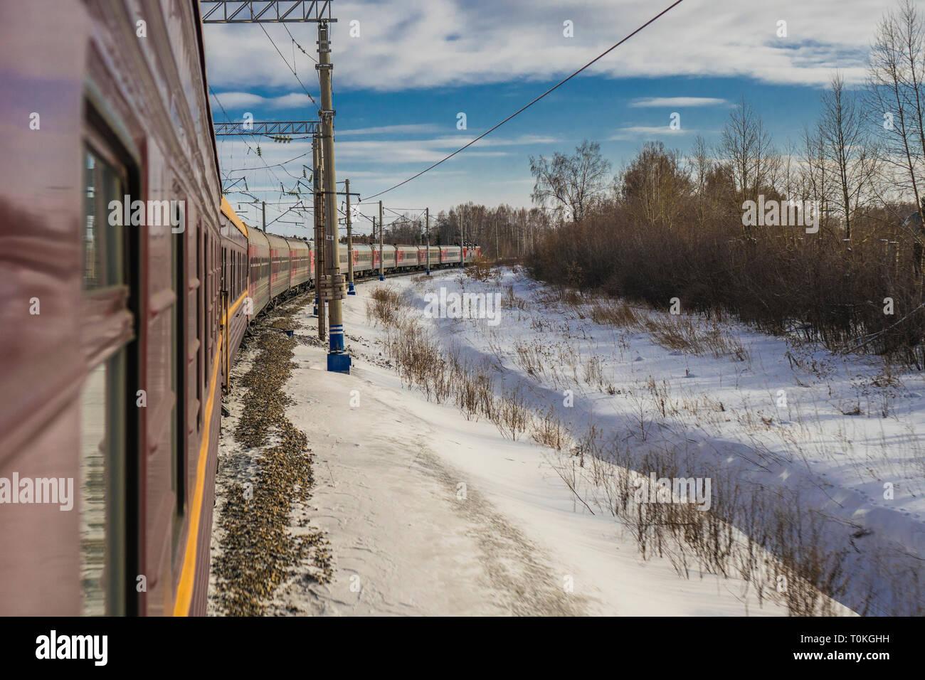 Transsibérien en hiver, Russie Banque D'Images