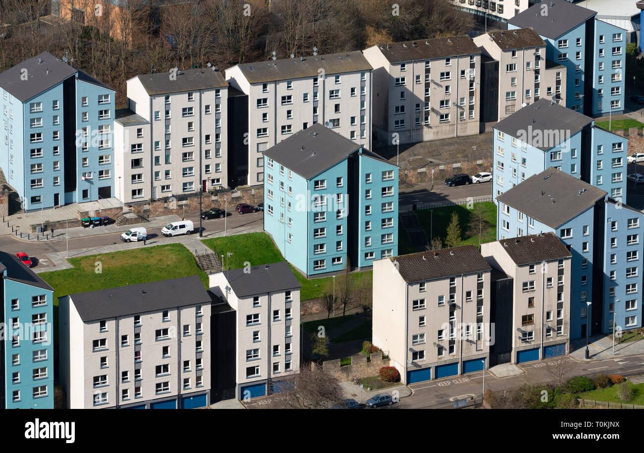 Vue de l'appartement dans des immeubles résidentiels à Édimbourg Dumbiedykes, Ecosse, Royaume-Uni Photo Stock
