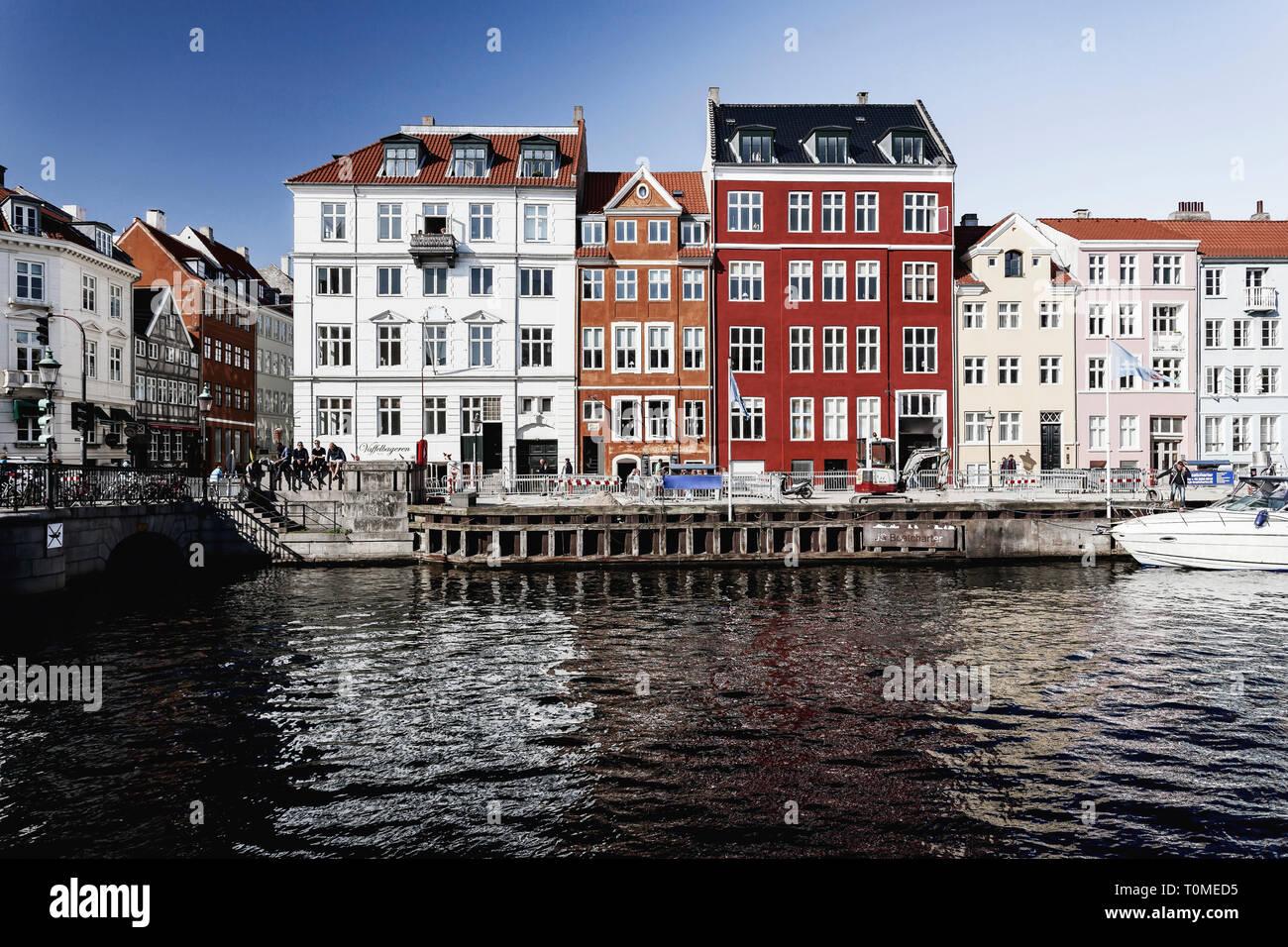 L'architecture historique, Nyhavn, Copenhague, Danemark Banque D'Images