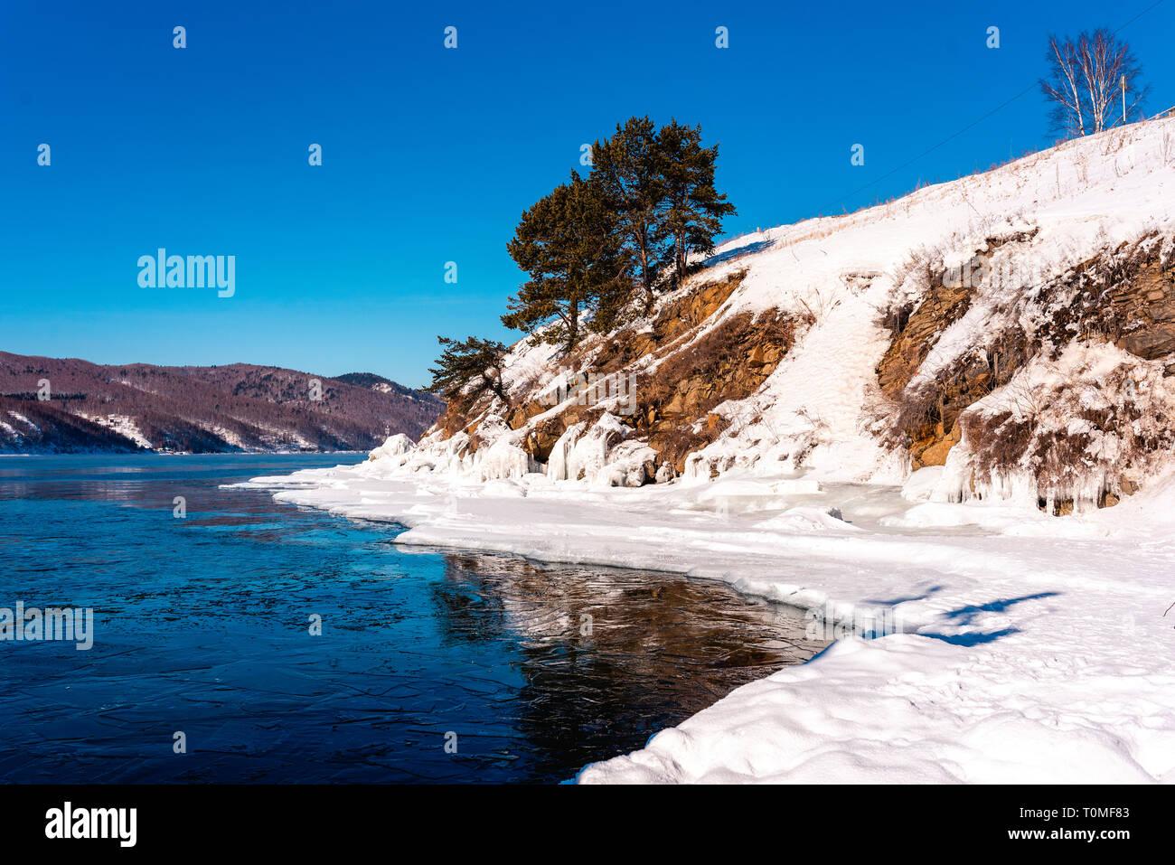 Paysage d'hiver au Lac Baikal, Sibérie, Russie Banque D'Images