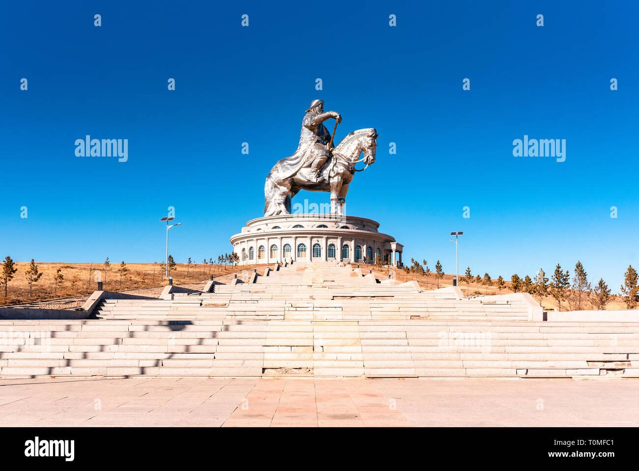 Gengis Khan Statue équestre, Tsonjin Boldog, Töv Province, Mongolie Banque D'Images