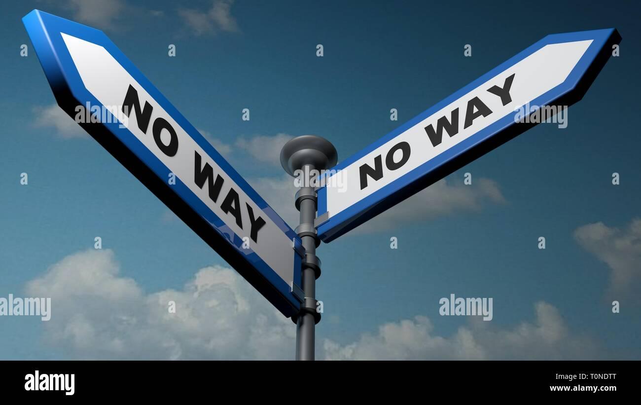 Pas la possibilité - way blue street flèches - le rendu 3D illustration Banque D'Images