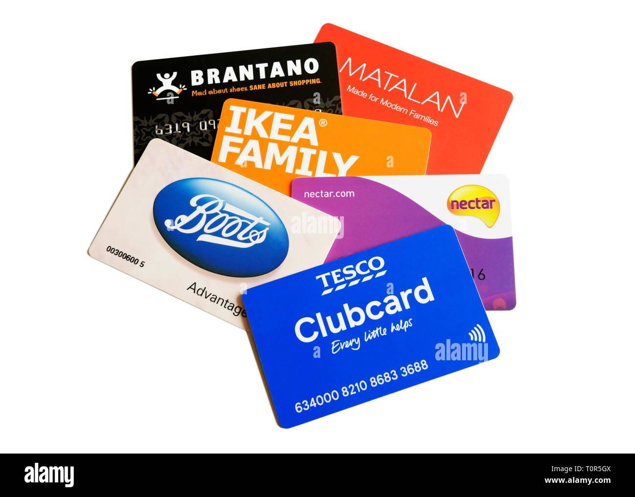 Cartes de fidélité, Royaume-Uni Photo Stock