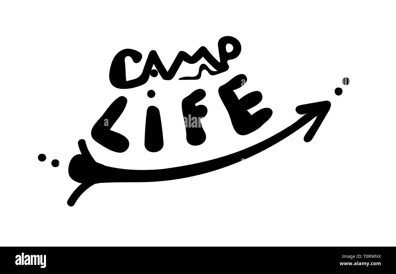 La vie du camp. Mot avec tente et flèche dans un style simple à la main. Inscription du vecteur. Cute inscription sur un fond blanc. tourisme devis pour sti voiture Illustration de Vecteur