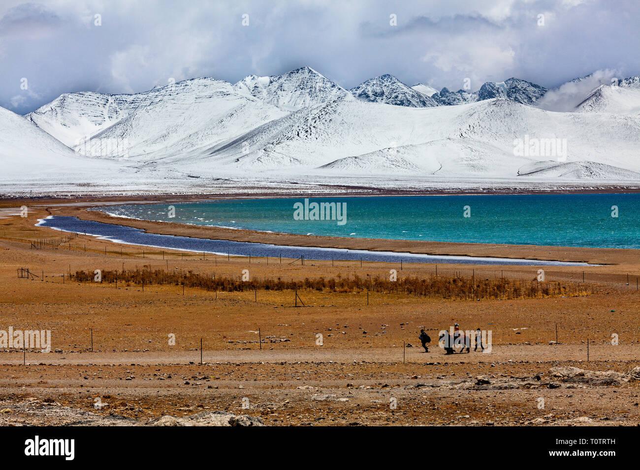 Le sel du Lac Namtso est à 4718m, et le plus haut lac du monde. Vues à partir de la campagne d'Tashi Dor. Le Tibet, la Chine. Photo Stock