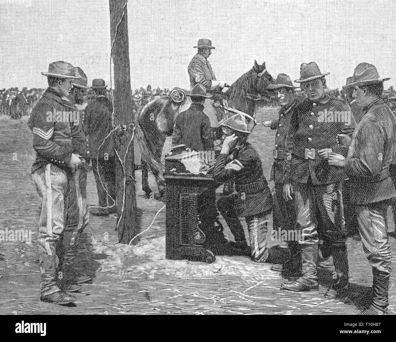 da93c1a9 Guerre hispano-américaine 1898, champ de téléphone de l'armée américaine  communications,