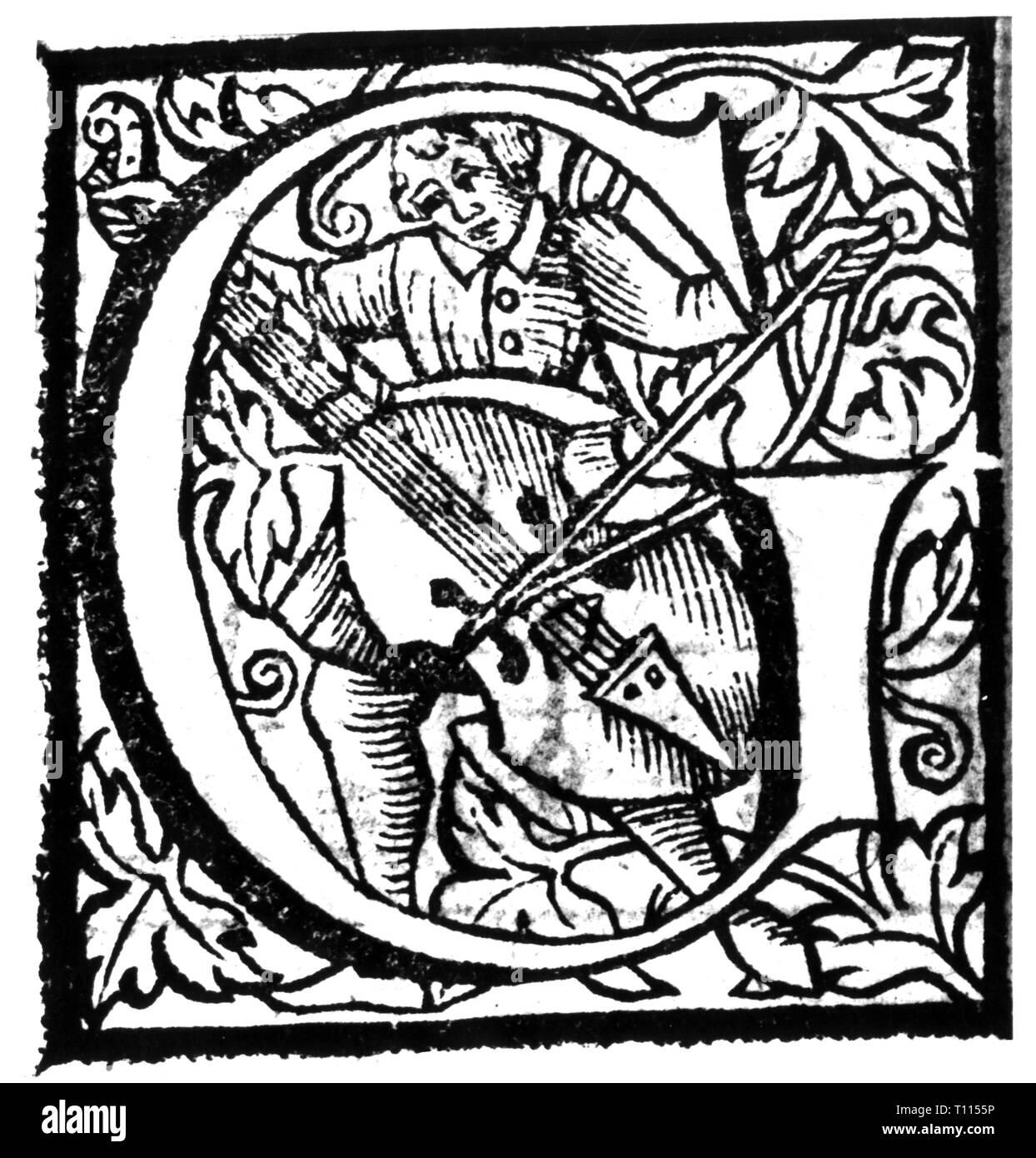 L'écriture, script, Latin, Capitalis Monumentalis initiale, 'G', à partir de: 'Liber mottetorum' de Jacobus de Kerle, Munich, 1573, Additional-Rights Clearance-Info-Not-Available- Photo Stock