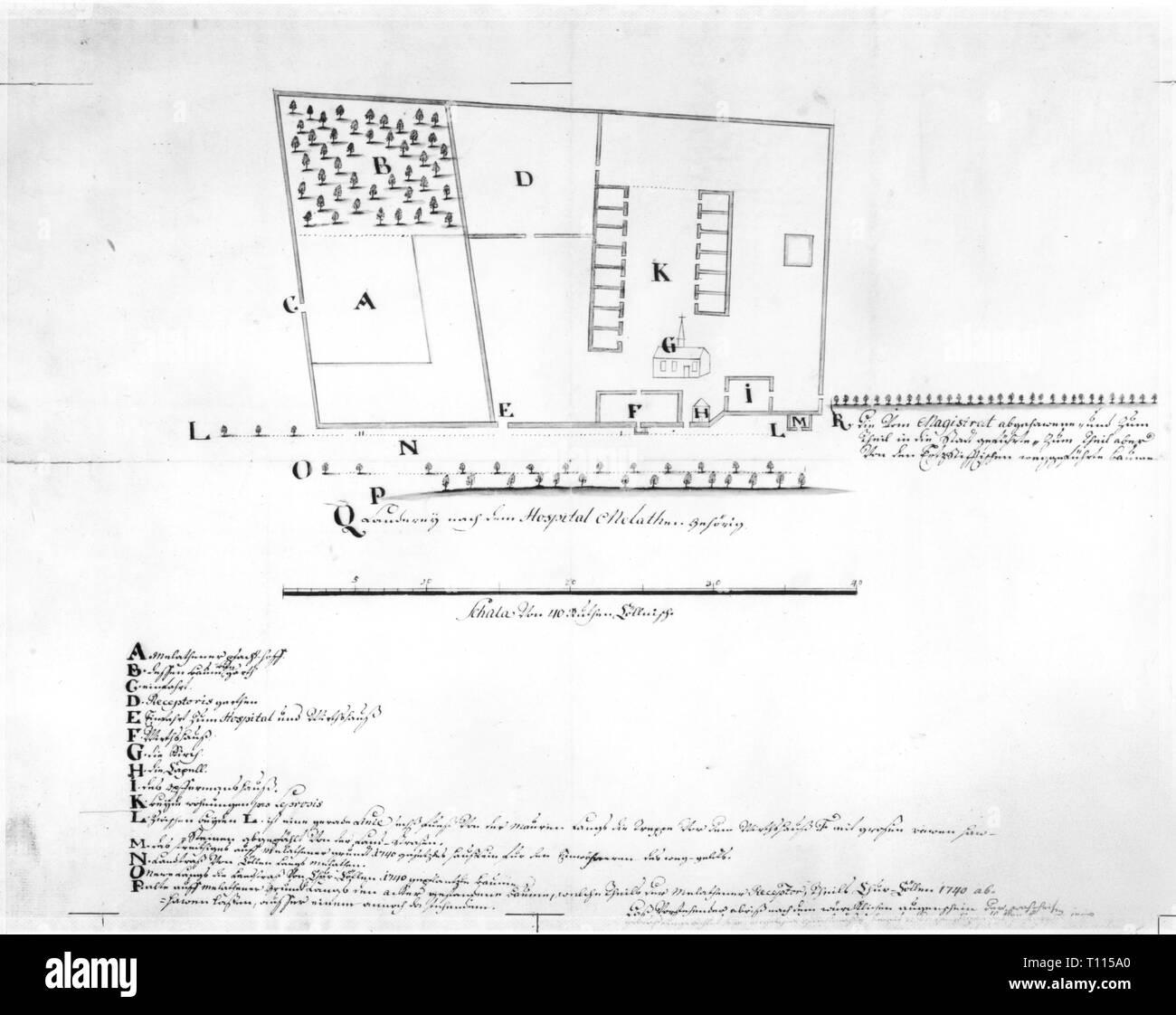 La cartographie, cartes, Allemagne, carte des terres de la lèpre (Melaten de Cologne), vers 1740, Additional-Rights Clearance-Info-Not-Available- Photo Stock