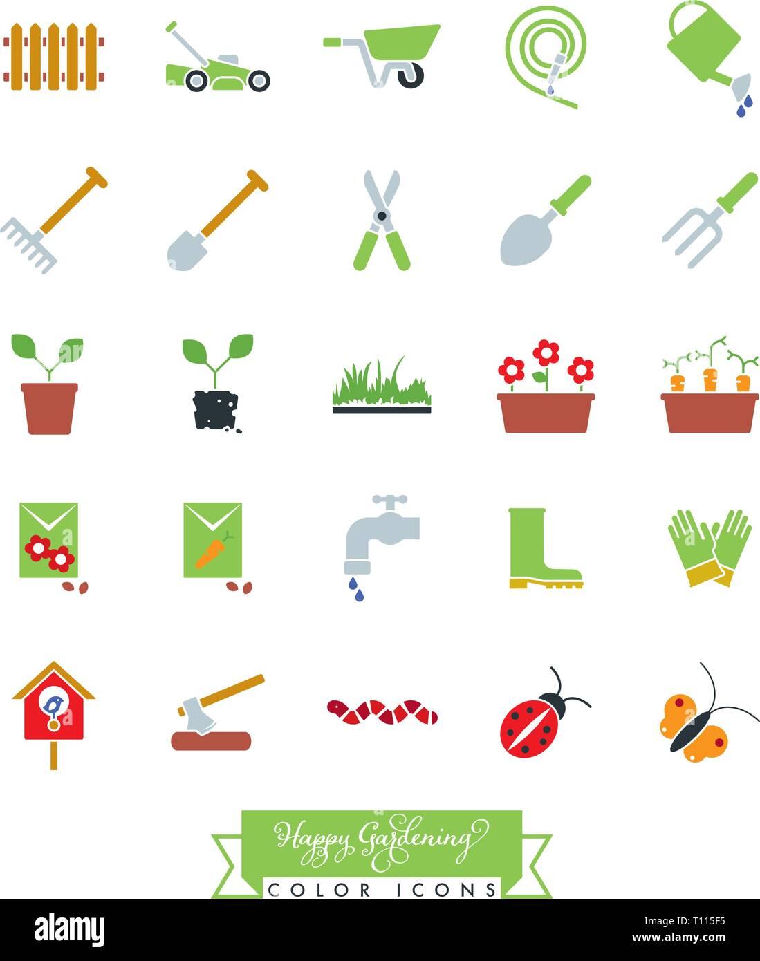 Collection d'icônes de jardinage couleur vector illustration Photo Stock