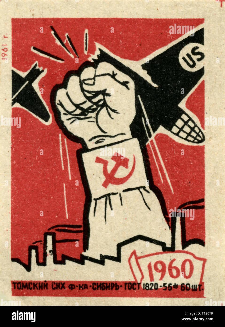 Russie - 1961: Union Soviétique matchbox collection graphique, guerre froide Photo Stock