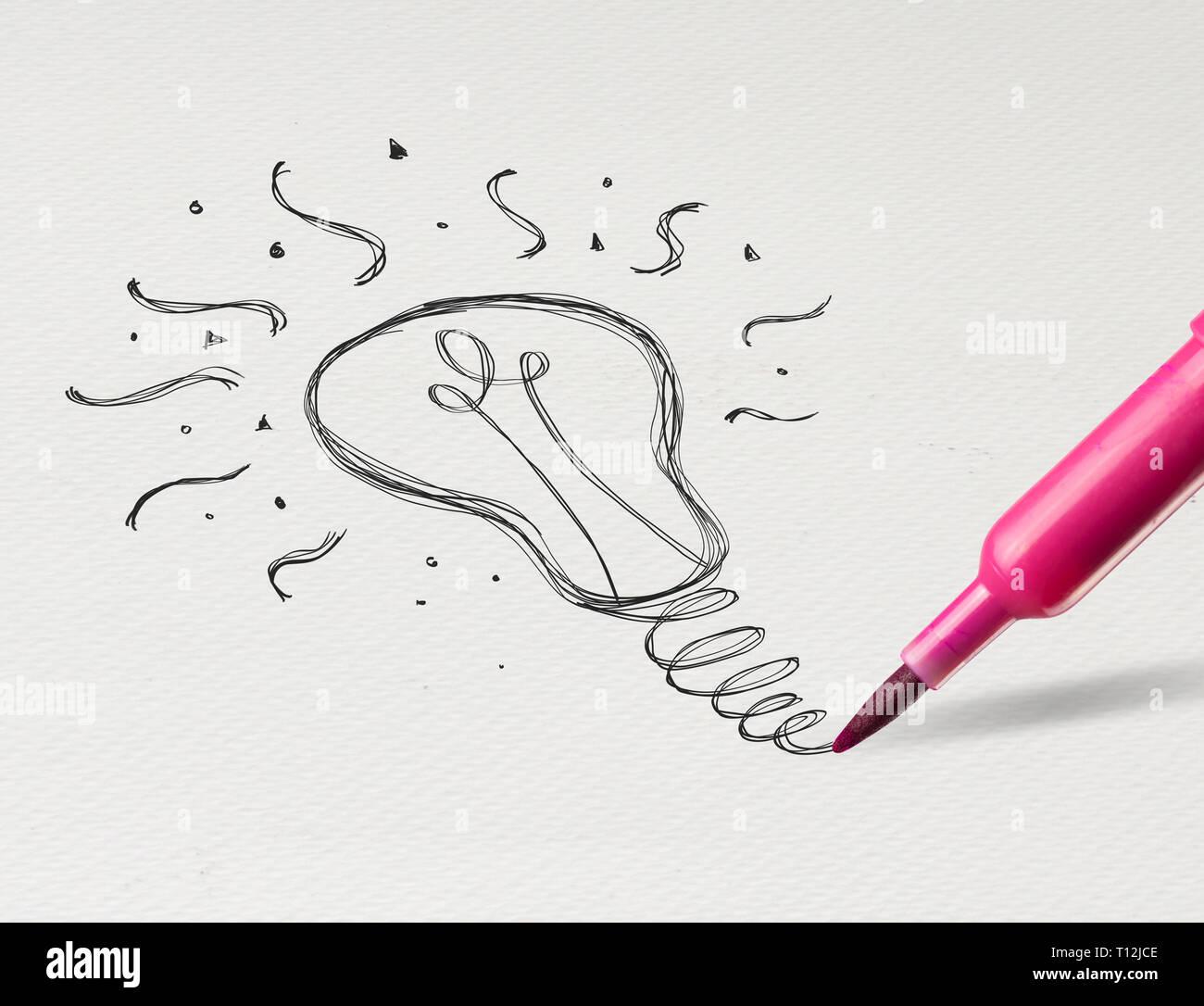 Nouvelle Idee Dessin Au Crayon Sur Papier Blanc De L Ampoule Photo Stock Alamy