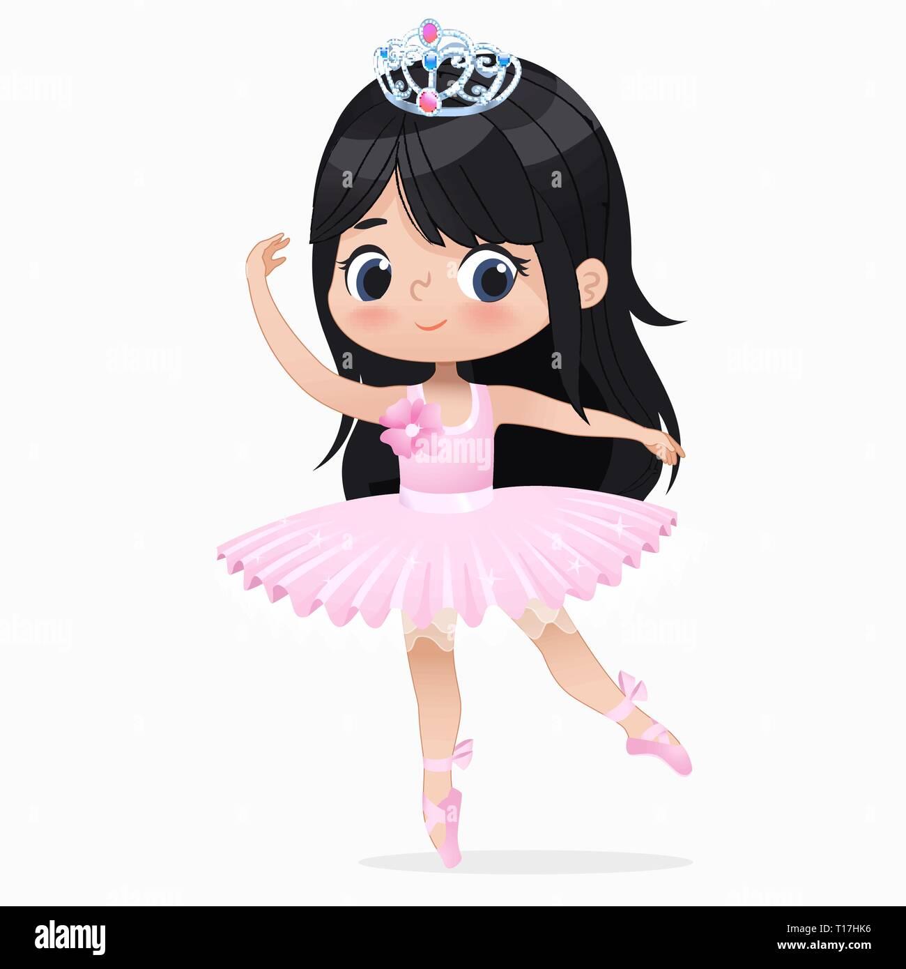 Cute Petite Fille Brune Ballerine Dance Isolés Caucasian