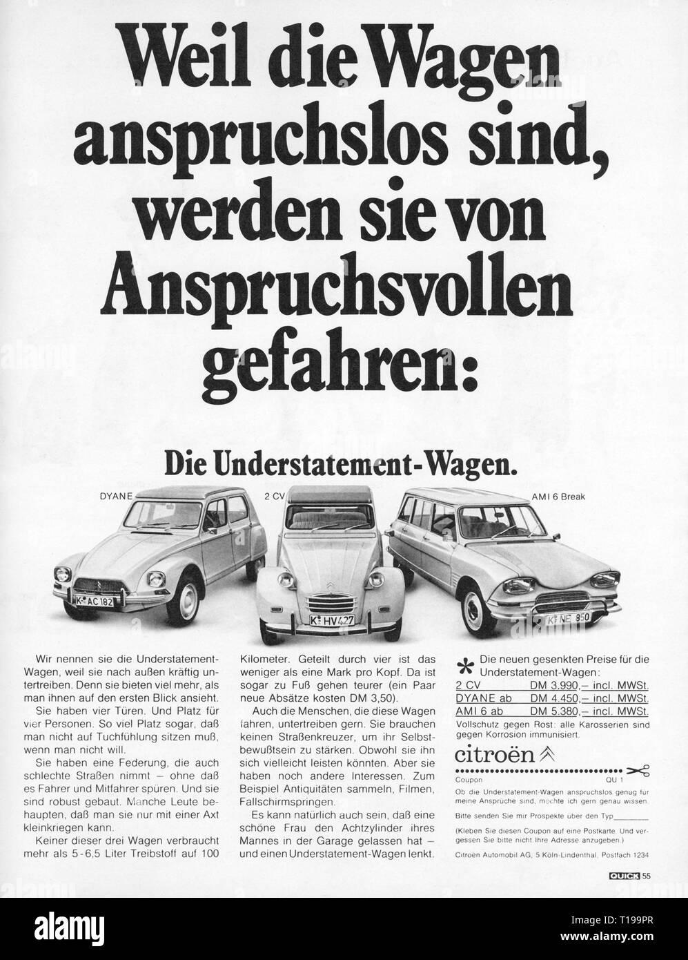 La publicité, l'automobile, Citroen, 2CV, Dyane, AMI 6 Break, publicité, de: 'rapide', numéro 7, volume 22, Munich, 12.2.1969, Additional-Rights Clearance-Info-Not-Available- Photo Stock