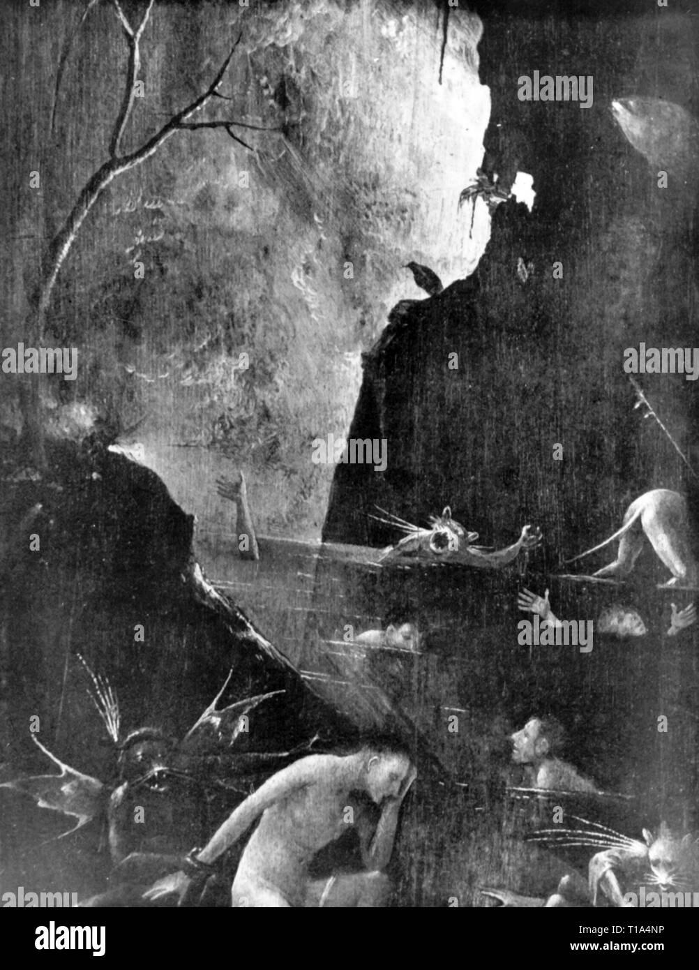 La religion, le christianisme, l'enfer, peinture, de Jérôme Bosch (vers 1450 - 1516), 1505 - 1515, huile sur panneau, détail, du Palais des Doges, Venise, l'artiste n'a pas d'auteur pour être effacé Photo Stock