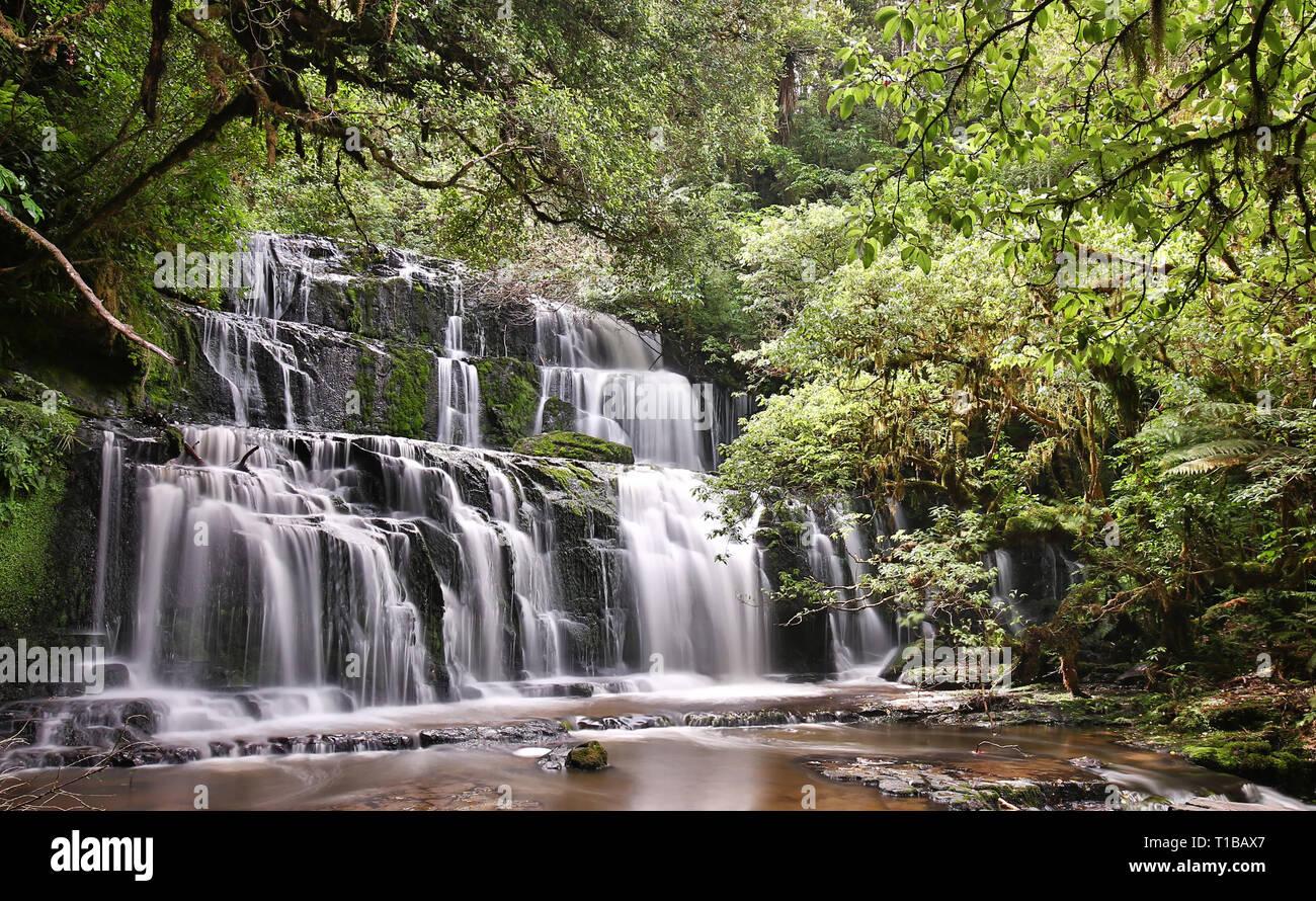 Vue panoramique de l'Purakaunui Falls (parc forestier de Catlins Nouvelle-zélande) Banque D'Images