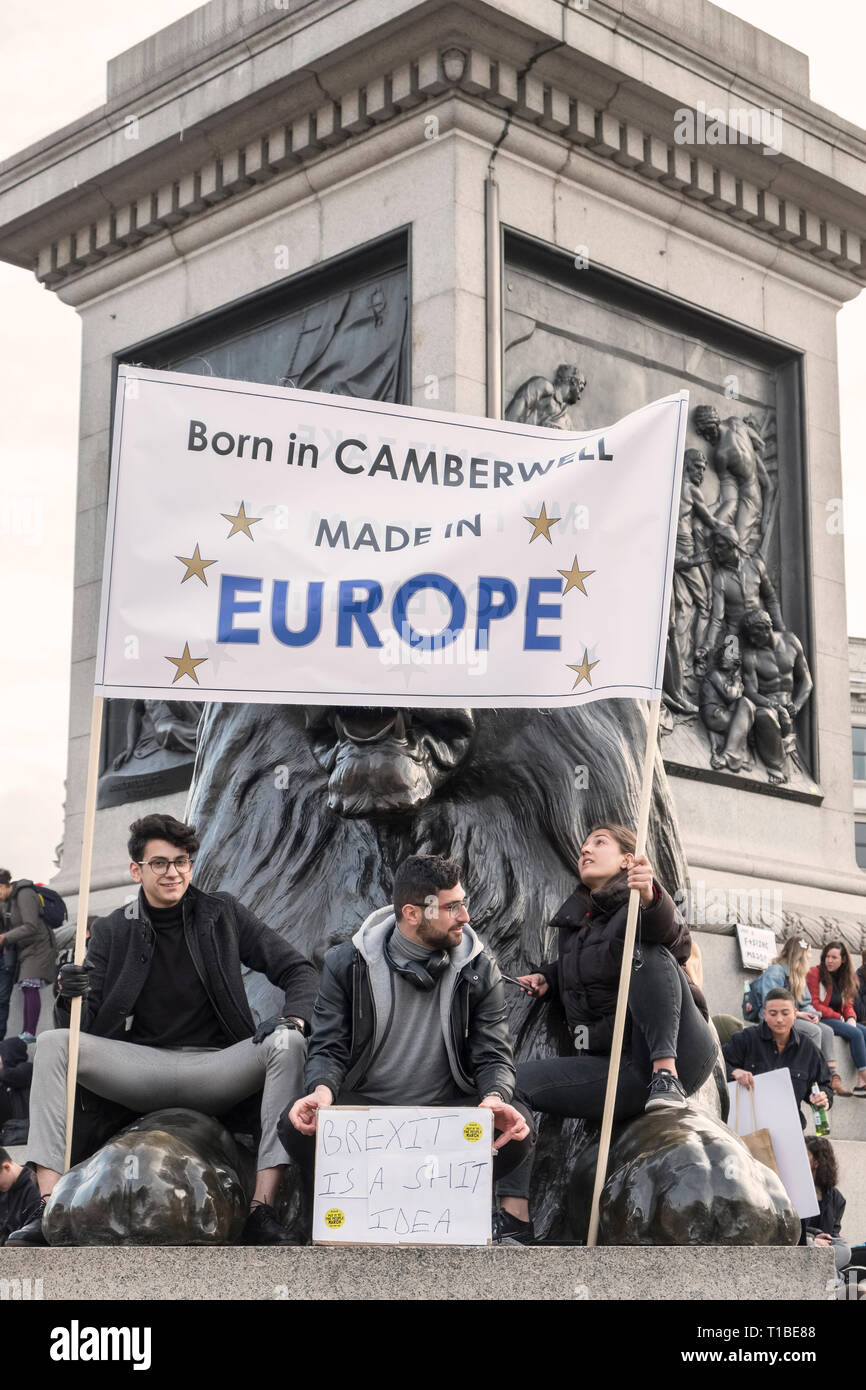 Londres, Royaume-Uni, 23 mars 2019. Un million de manifestants contre mars Brexit et à l'appui d'un second référendum. Les manifestants à Trafalgar Square Banque D'Images