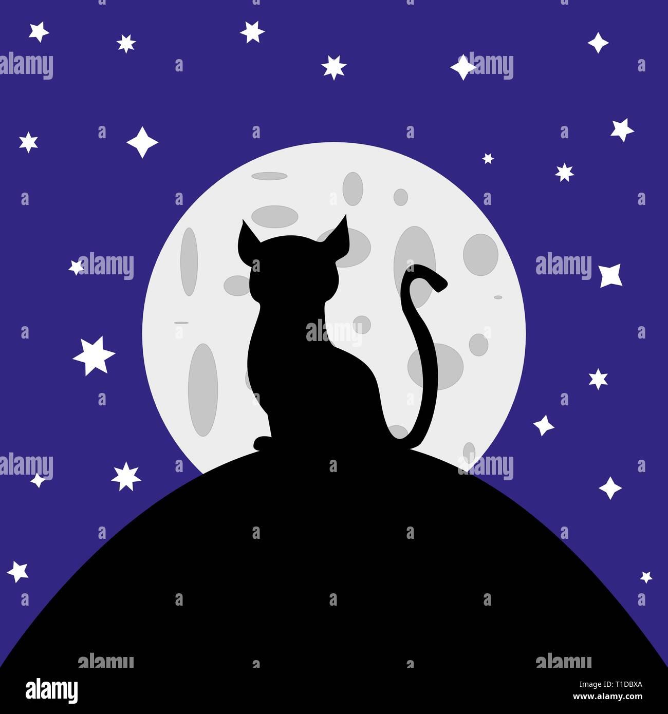 Silhouette de chat dans le fond de la lune Photo Stock