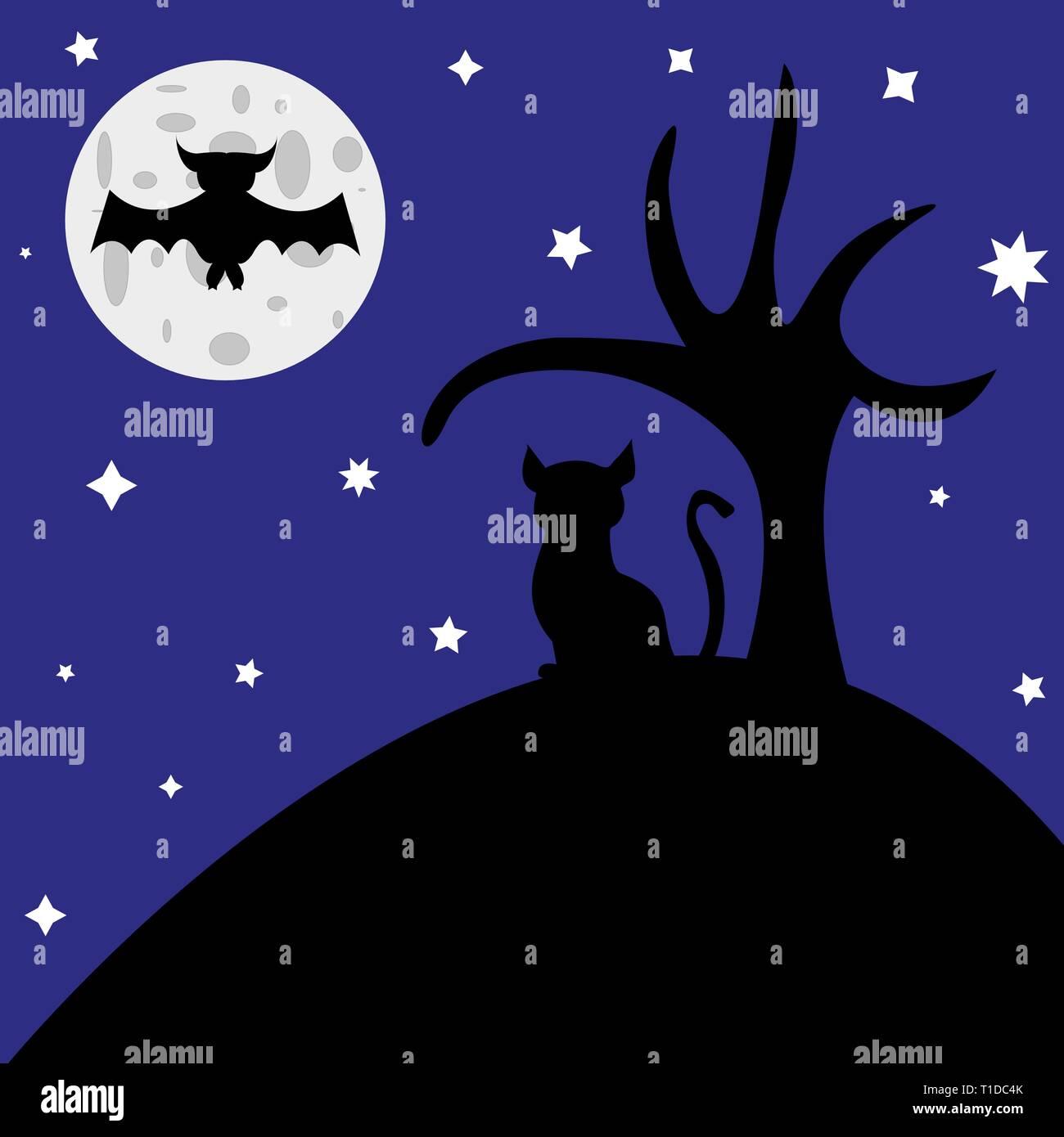 Soir de l'halloween illustration bat et cat Photo Stock