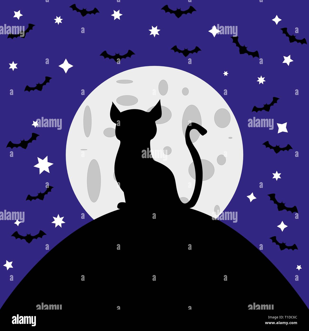 Chat contre l'arrière-plan de la lune Photo Stock