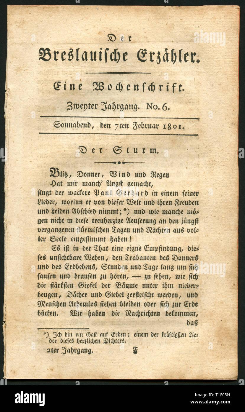 Allemagne, Breslau, Wroclaw, la littérature historique Magazine, n° 6, publié 7.2.1801. Additional-Rights Clearance-Info,--Not-Available Photo Stock