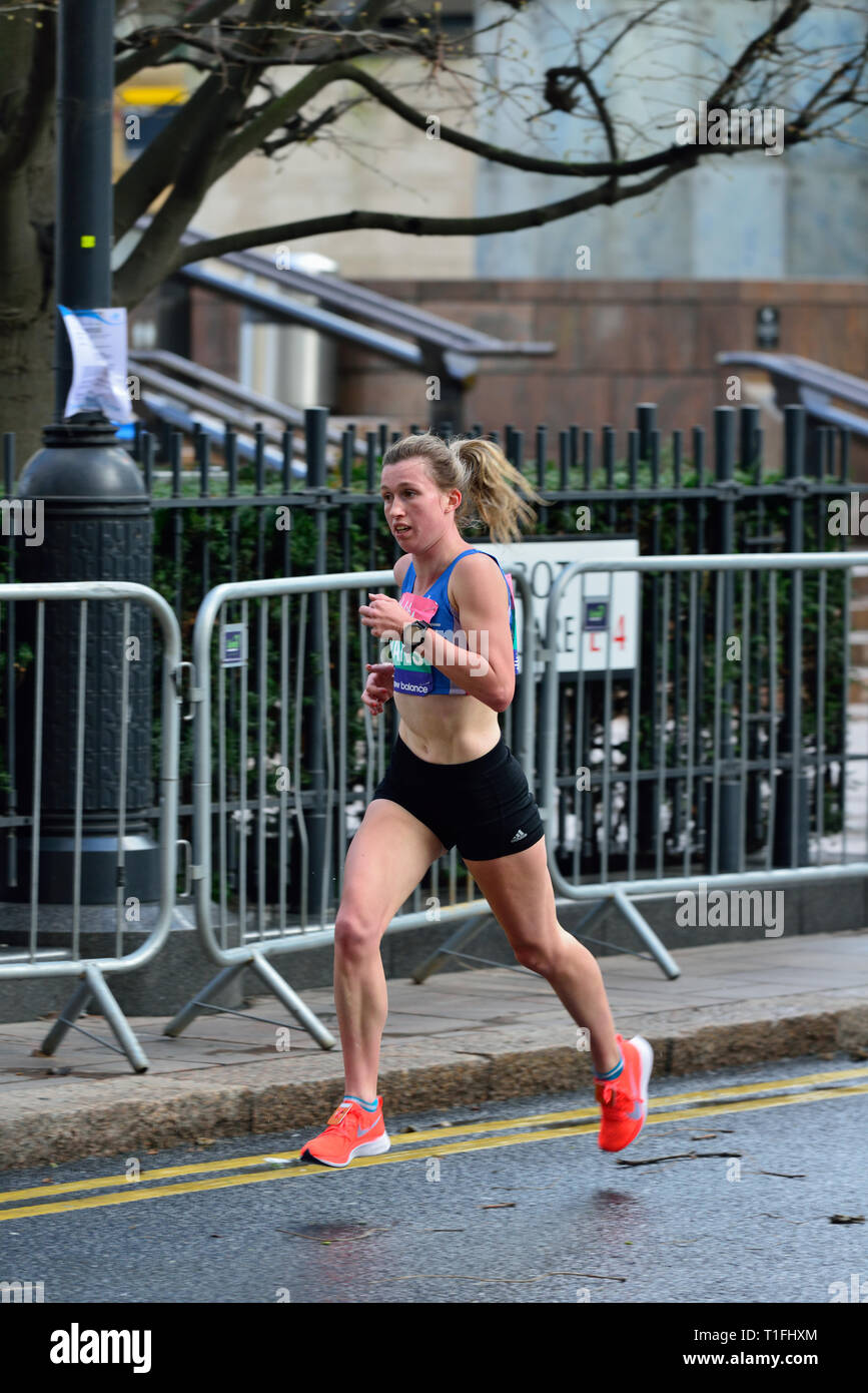 Women's elite concurrent, 2019 grande vitalité Demi-marathon, Cabot Square, Canary Wharf, East London, Royaume-Uni Photo Stock
