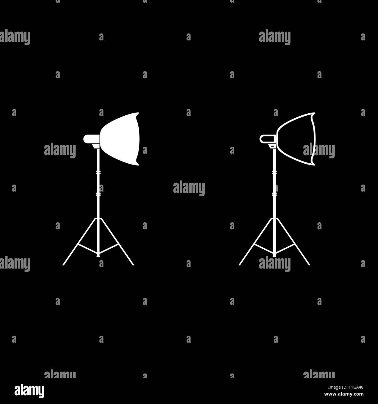 Pleins feux sur trépied projecteur de lumière Softbox sur trépied trépied du matériel léger pour la photographie professionnelle Theatre light icon set vecteur de couleur blanche Illustration de Vecteur