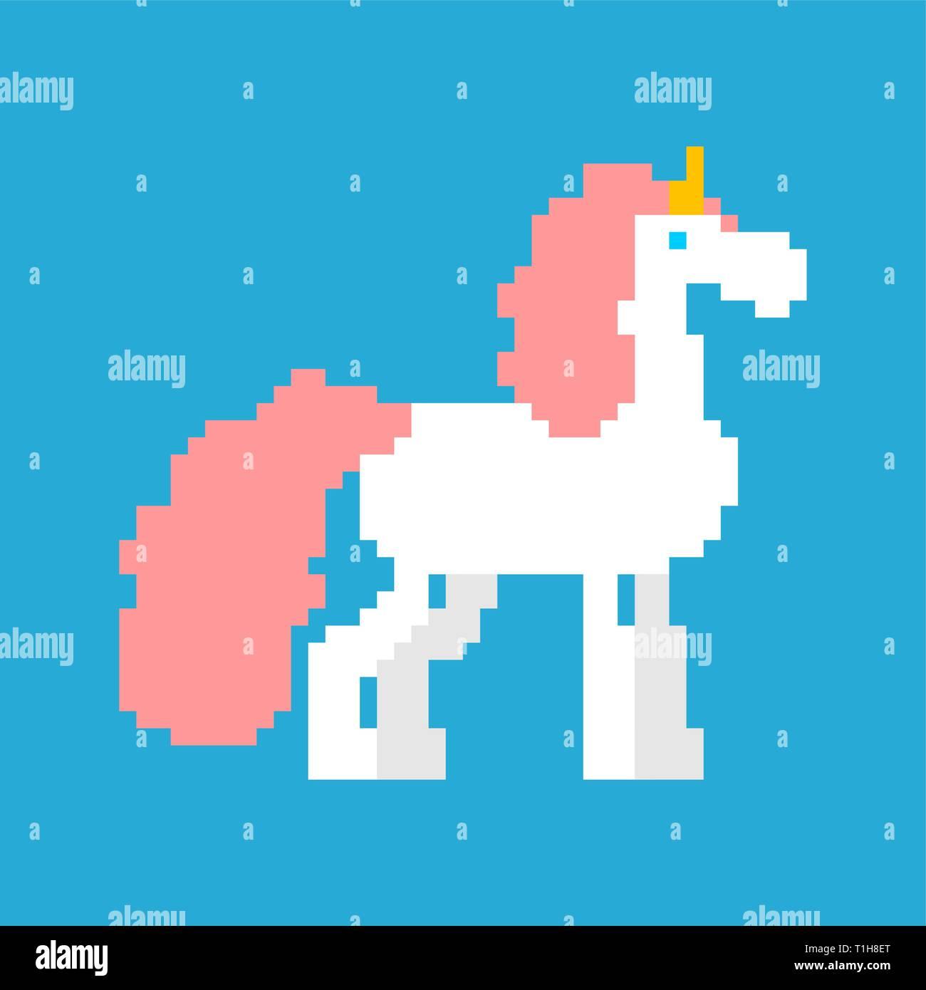 Pixel Unicorn Art Cheval Magique 8 Bit Avec Corne Sur La
