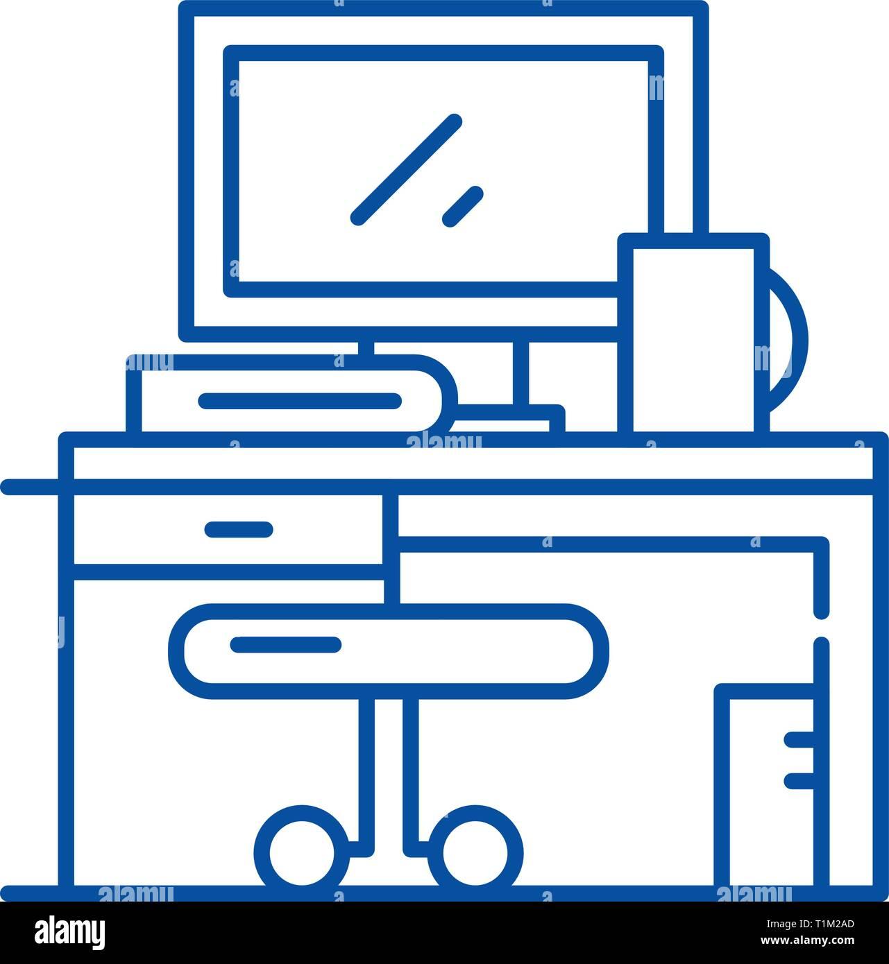 L'icône de la ligne du milieu de concept. Télévision en milieu de signe, symbole, vecteur illustration contour. Illustration de Vecteur