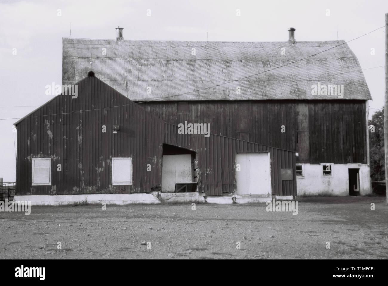 Grange en Elginburg, Ontario, Canada - Haute qualité négatif numérisé - 35mm - Photo prise en 2002 Photo Stock