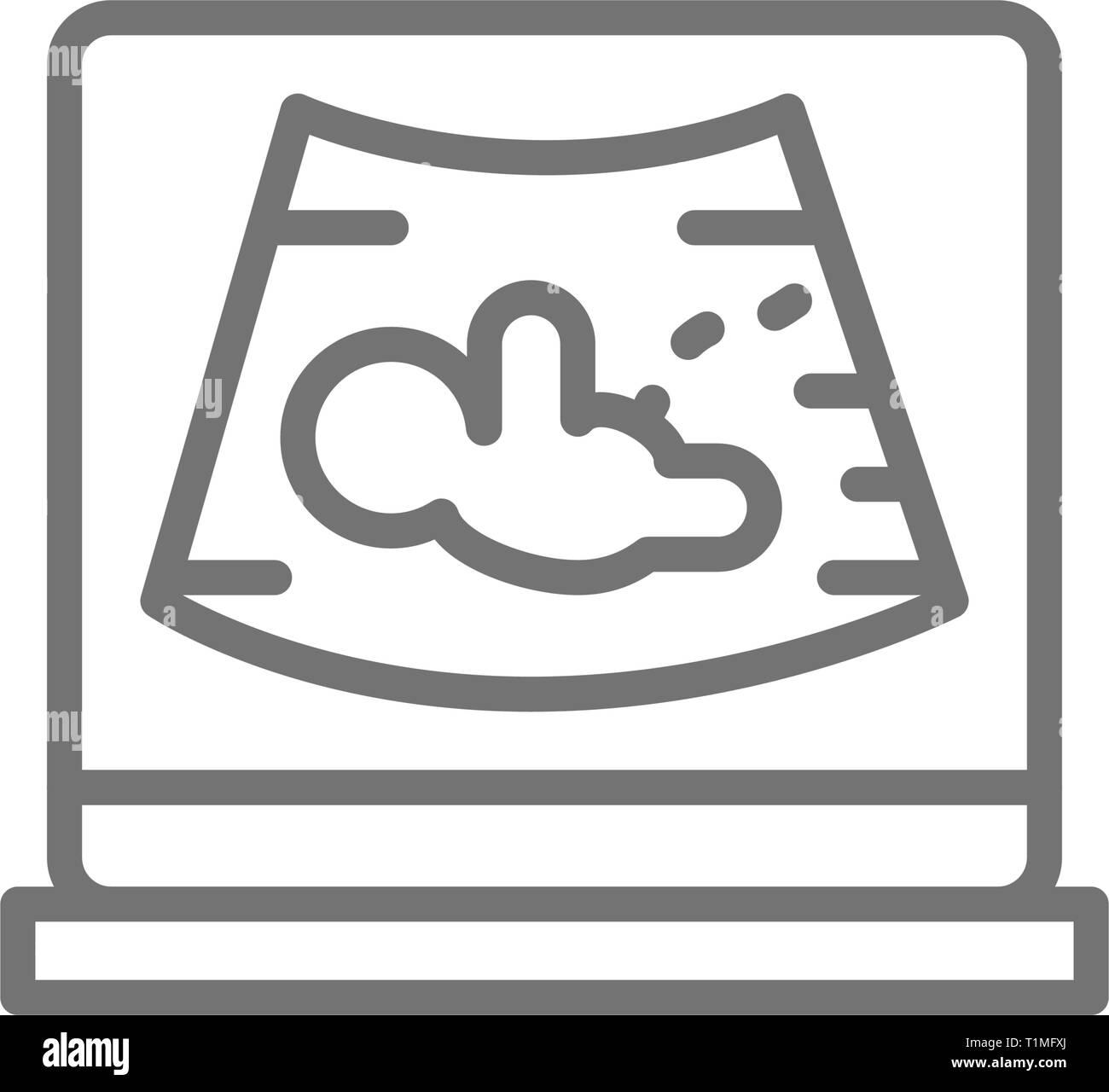 Photo d'échographie avec fœtus, maternité, grossesse, sonogramme icône ligne. Photo Stock