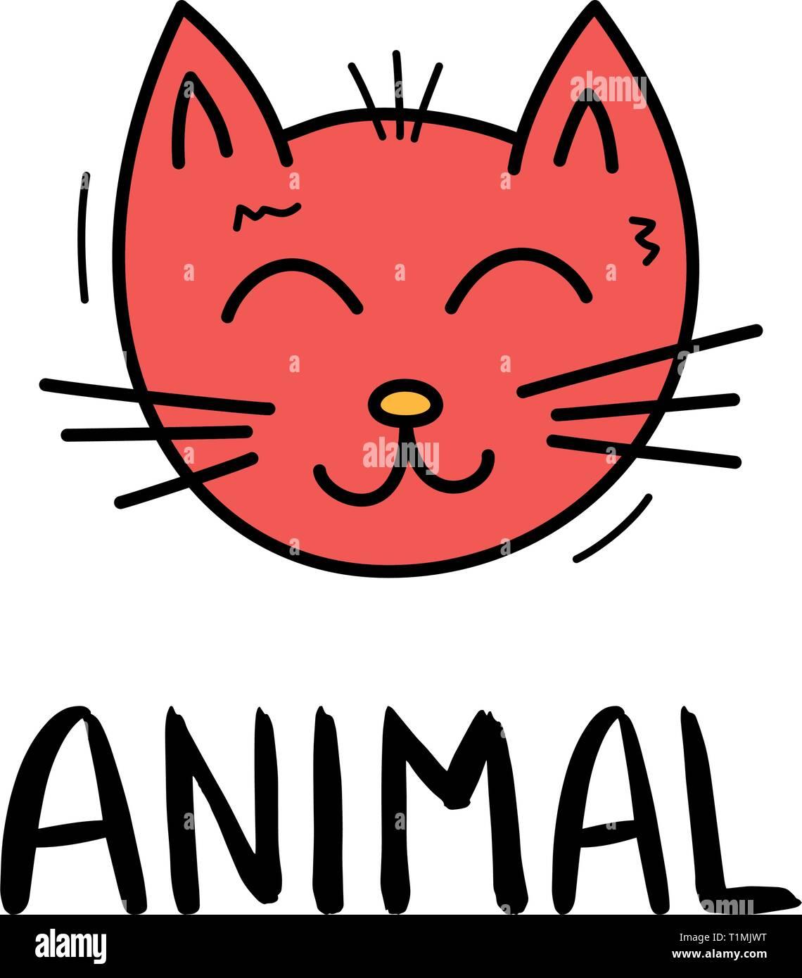 Cat Doodle Colores En Style A La Mode L Icone Esquisse