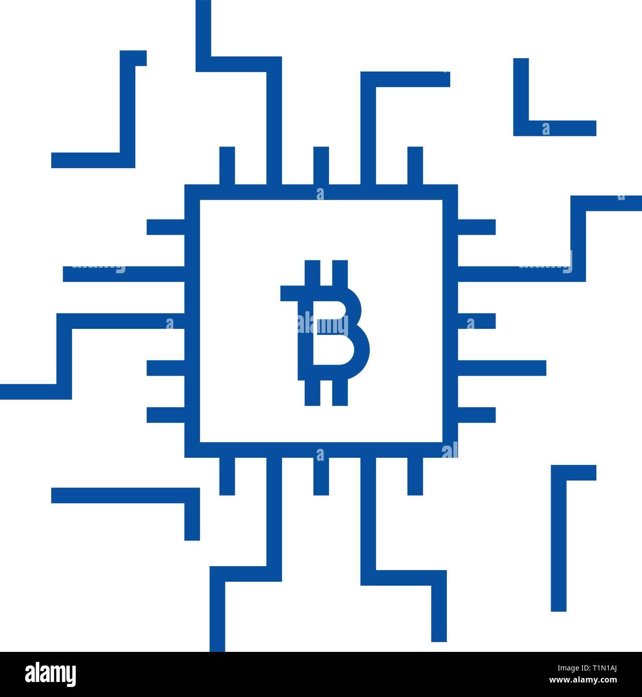 L'icône de la ligne concept Fintech concept. Notion de vecteur Fintech télévision symbole, signe, contours illustration. Illustration de Vecteur