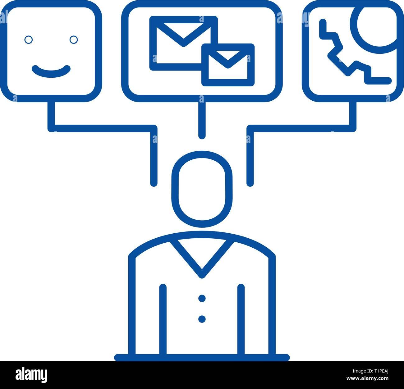 L'icône de la ligne de visualisation de données concept. La visualisation de données vecteur télévision symbole, signe, contours illustration. Photo Stock