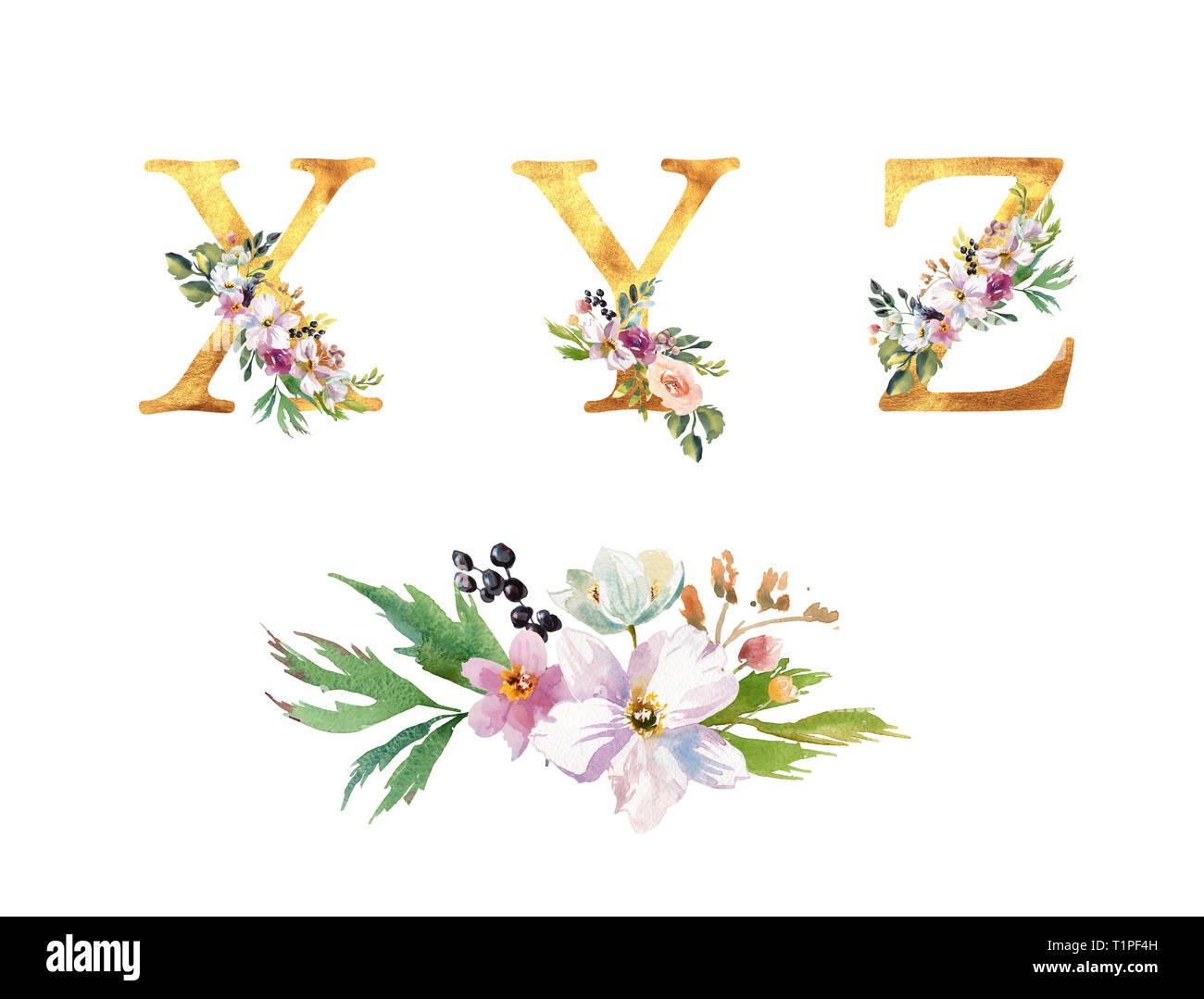 Romantique Collection Lettres D Or Avec Des Fleurs Aquarelle