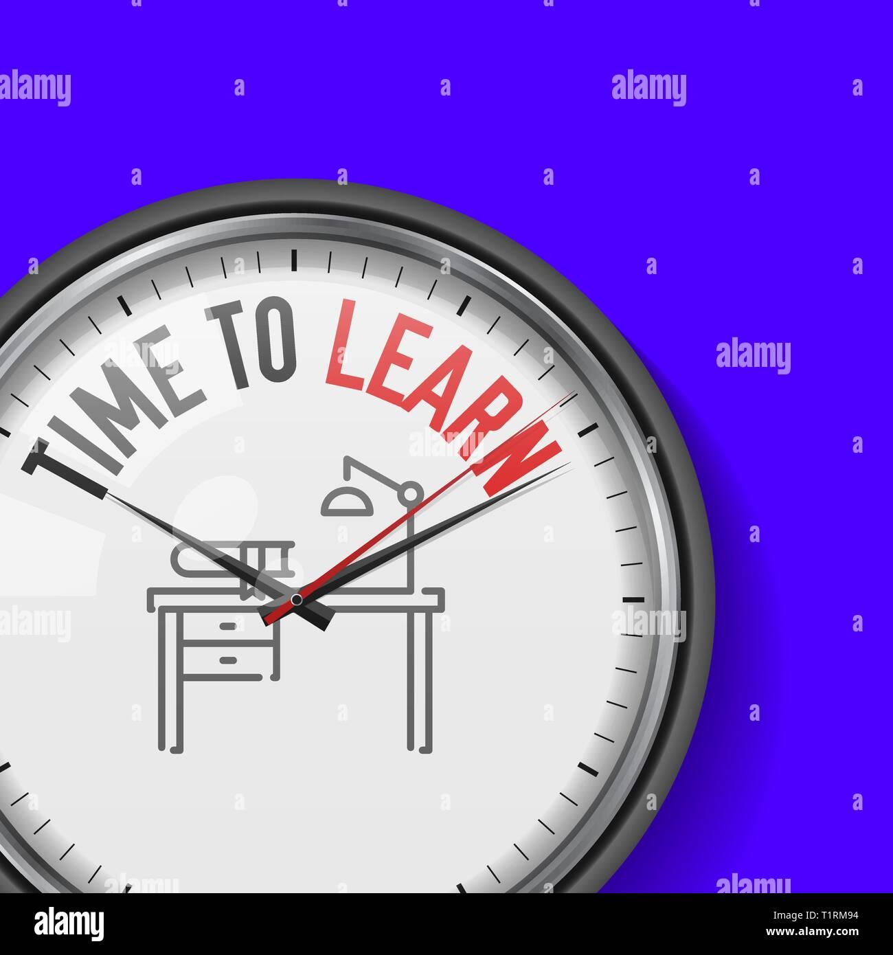 Le temps d'apprendre. Blanc horloge avec slogan de motivation. Metal analogique Watch avec le verre. 24, l'icône du milieu de travail Illustration de Vecteur