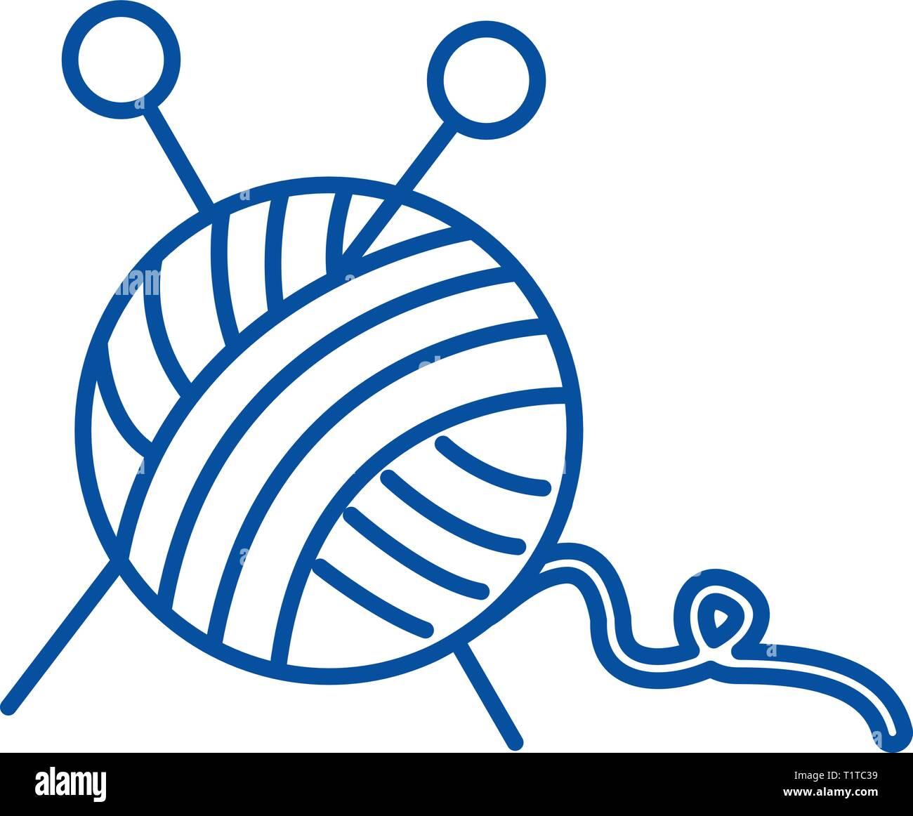 Pelote de laine,Couture,aiguilles à une icône ligne concept. Pelote de laine,Couture,des aiguilles à tricoter à plat, signe, symbole vecteur illustration contour. Illustration de Vecteur