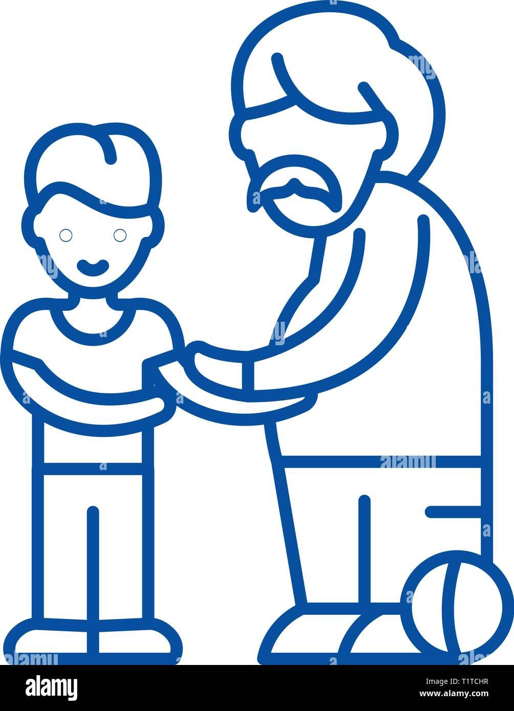 Fils et père icône ligne concept. Fils et père symbole vecteur télévision, signe, contours illustration. Illustration de Vecteur