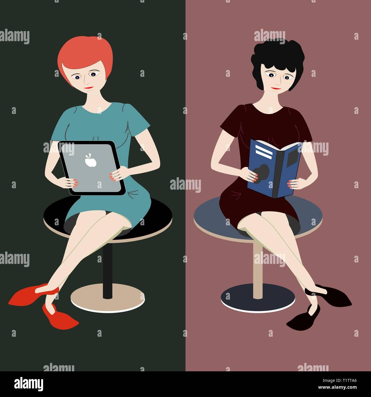 Deux filles lire. Une femme avec des cheveux roux se lit à partir de la tablette, d'autres fille aux cheveux noirs bouclés lit un livre. Comparaison de l'e-reader et réservez Photo Stock