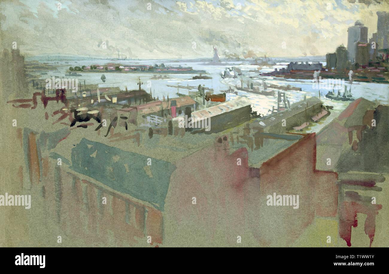 New York Bay par Joseph Pennell Banque D'Images