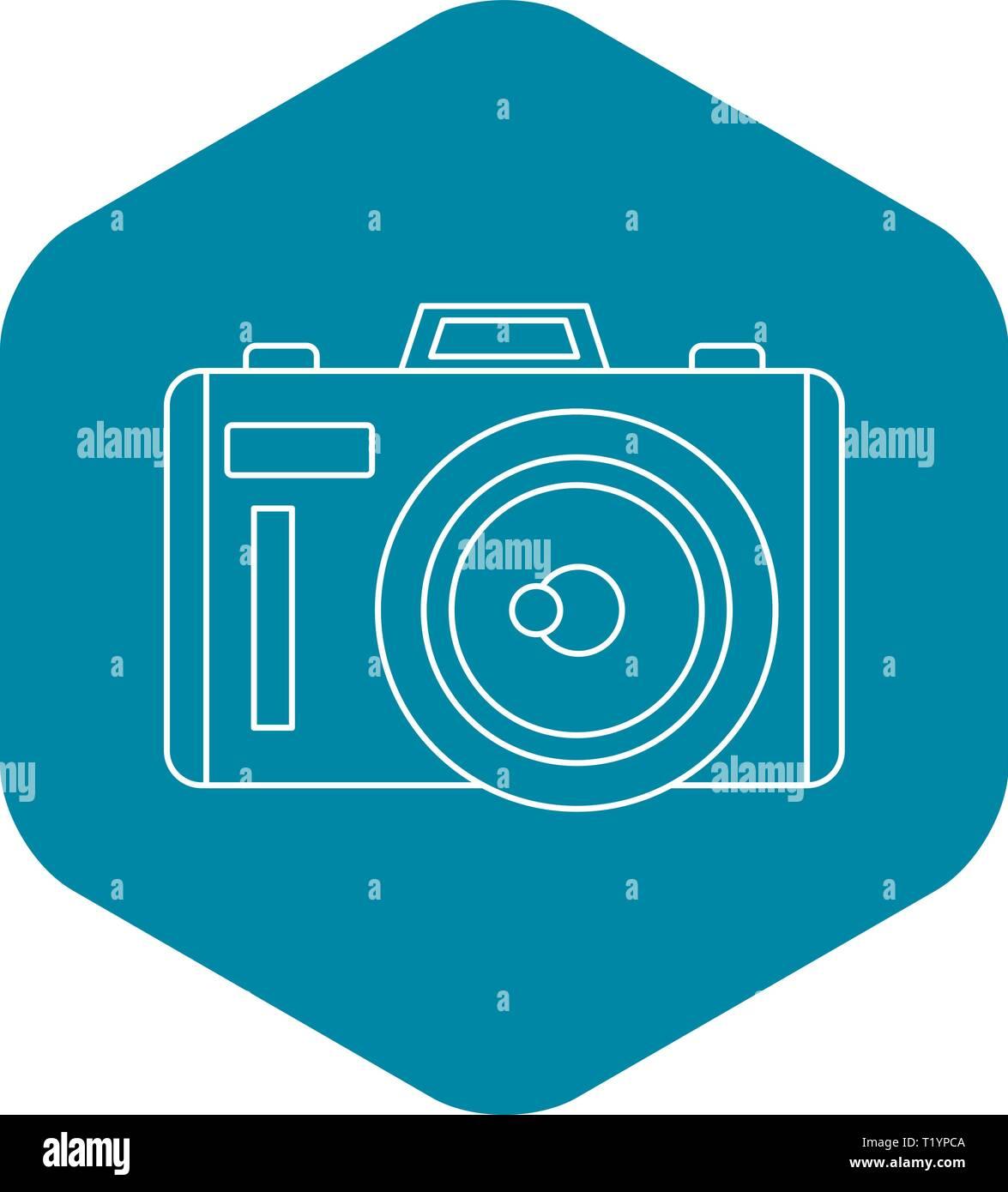Icône Photocamera style du contour, Photo Stock