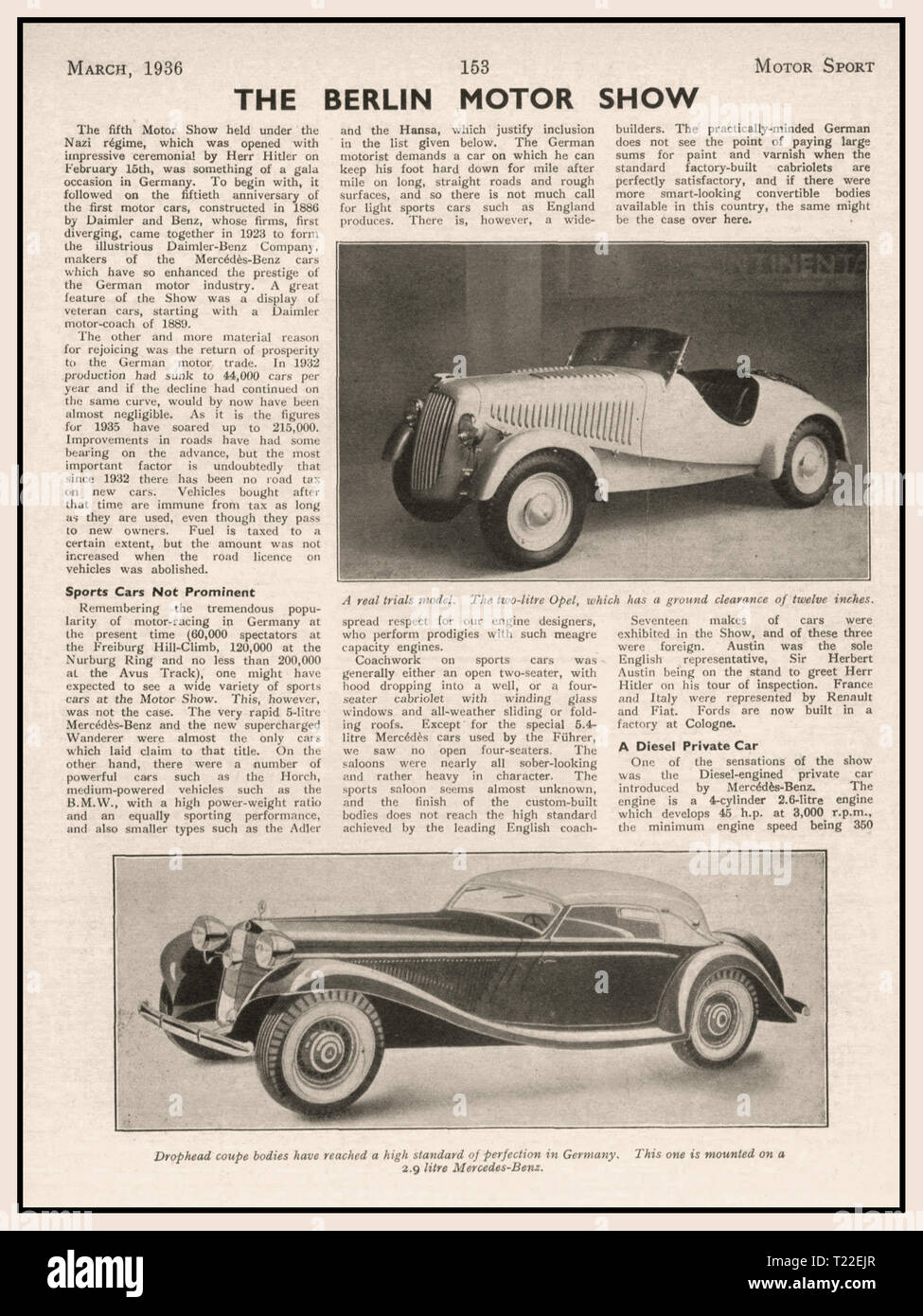 """Avant guerre 1936 Motor Sport article de magazine sur l'automobile de Berlin 1936 """"référencement"""" M. Hitler et Mercedes Daimler Benz Voitures Allemandes Photo Stock"""