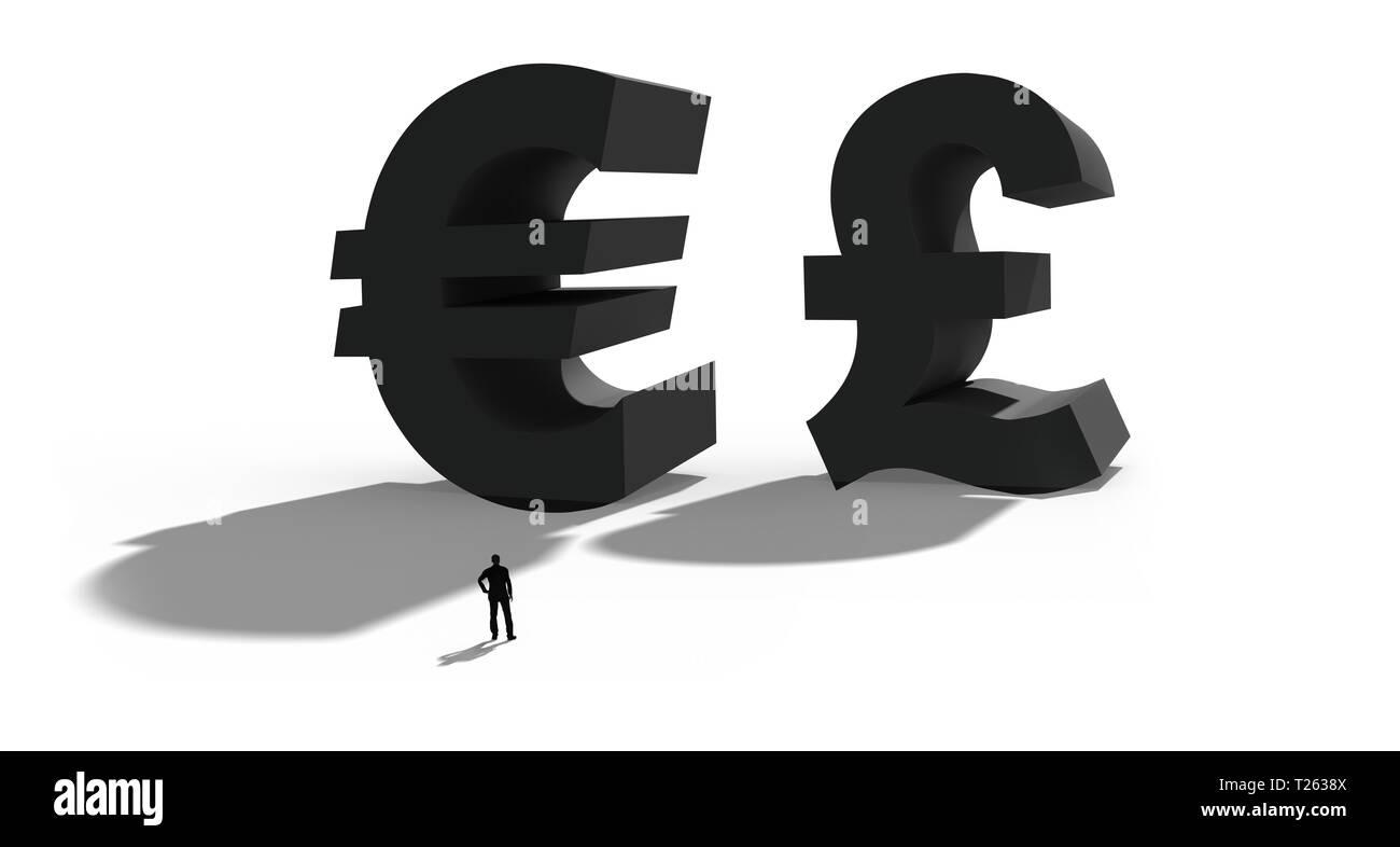 3d Illustration De La Livre Sterling Et L Euro Symbole De