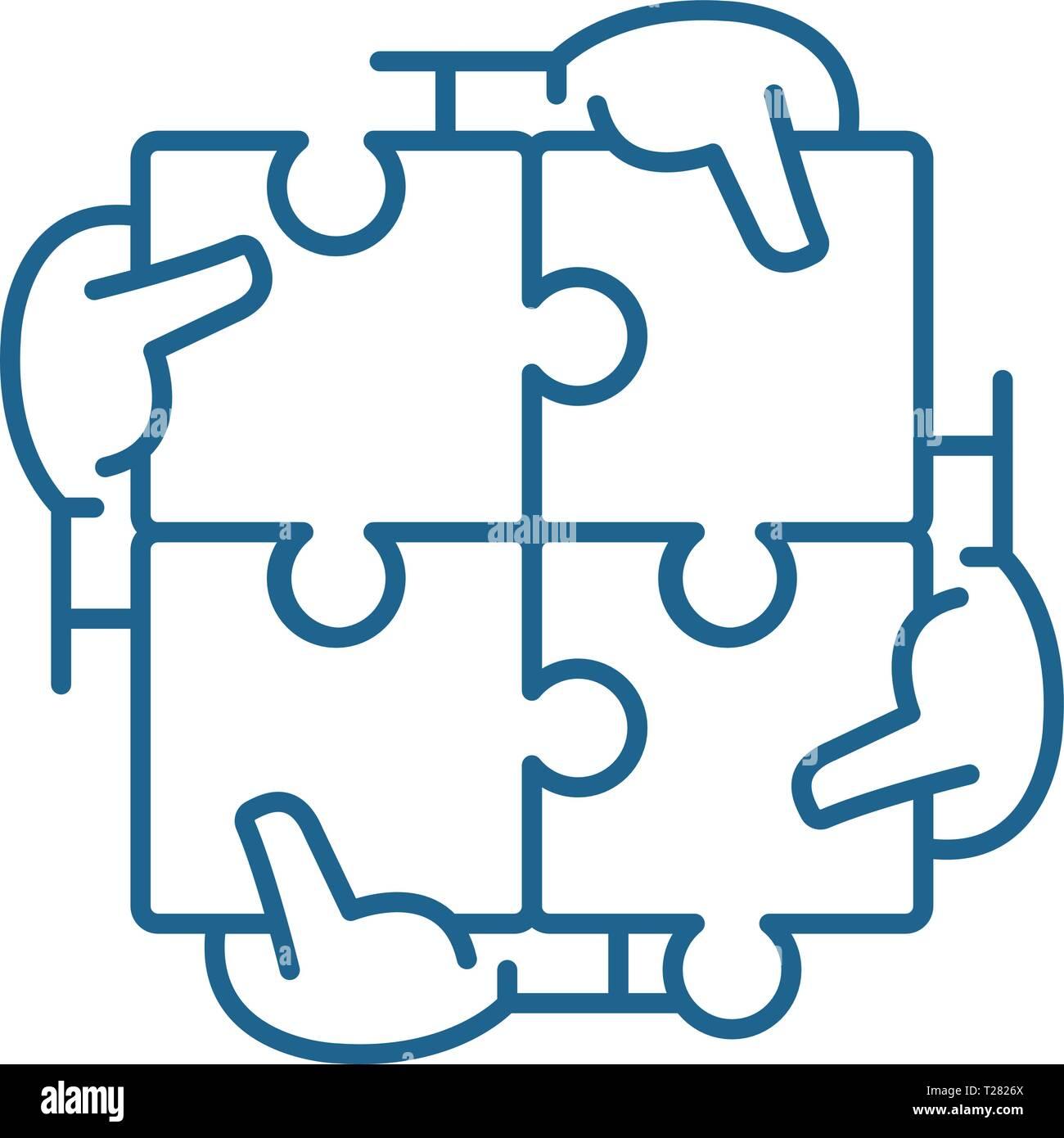 L'icône de la ligne synergie business concept. Une synergie d'affaires télévision vector symbole, signe, contours illustration. Photo Stock