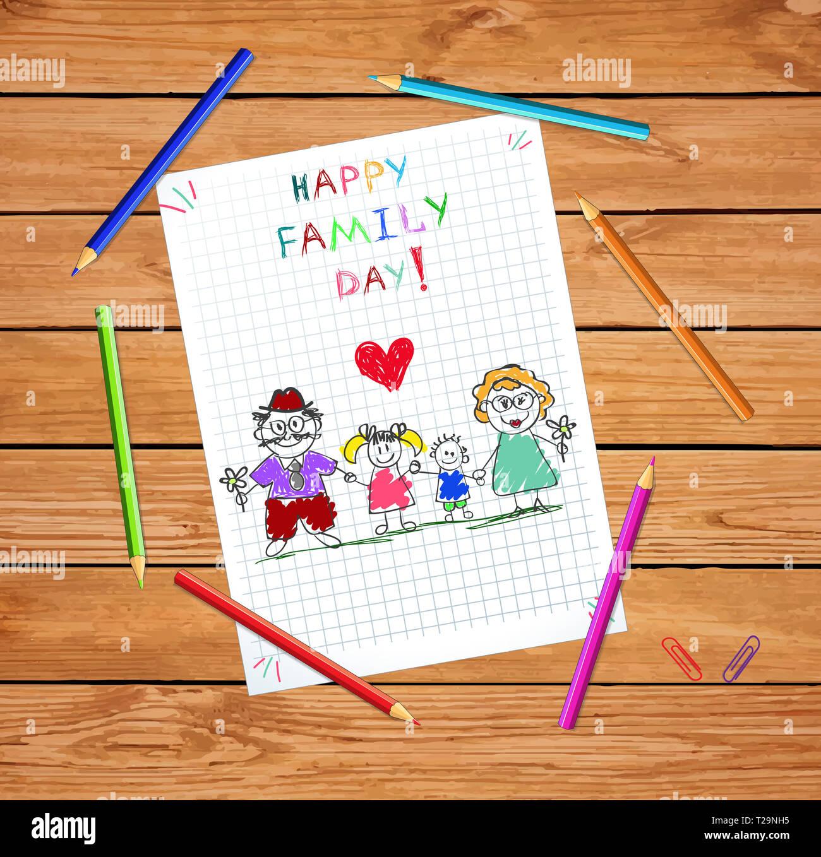 Happy Family Day Carte De Vœux Dessin De Bébé Dâge Mûr