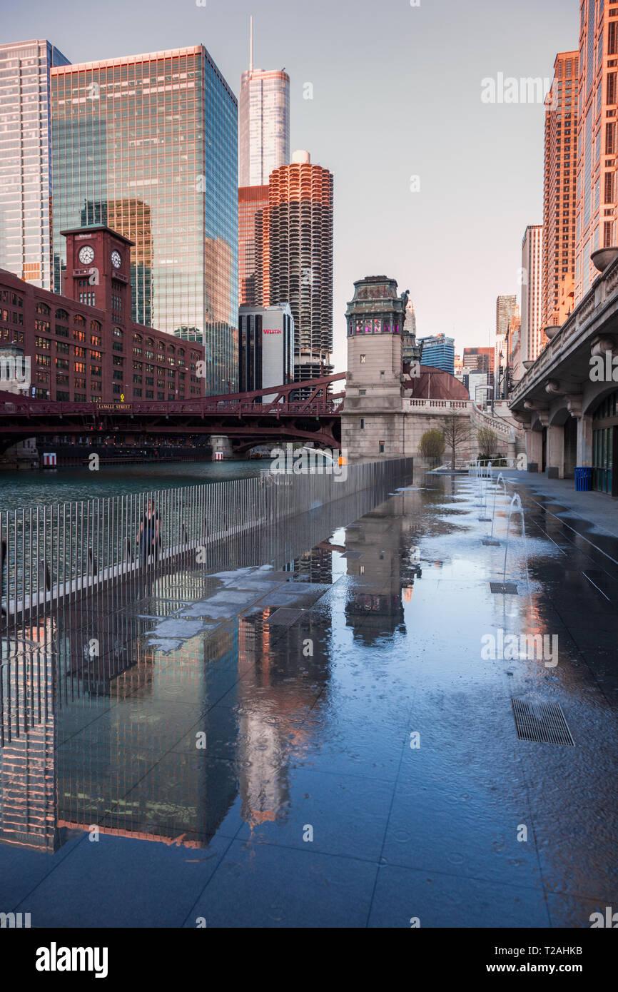 Fontaines de bureaux à Chicago, Illinois, USA Photo Stock