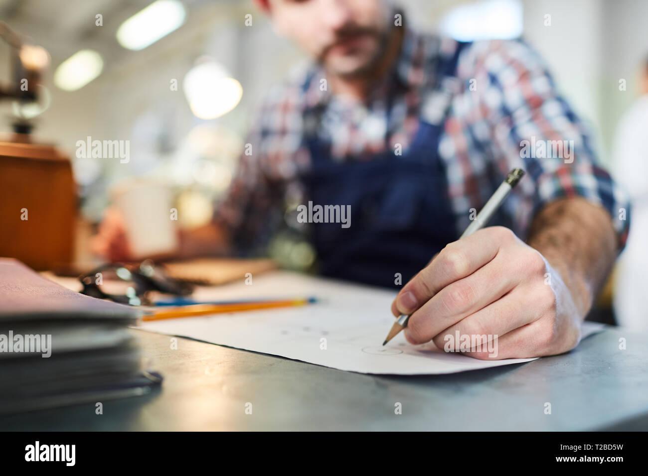 Les plans de dessin travailleur libre Banque D'Images