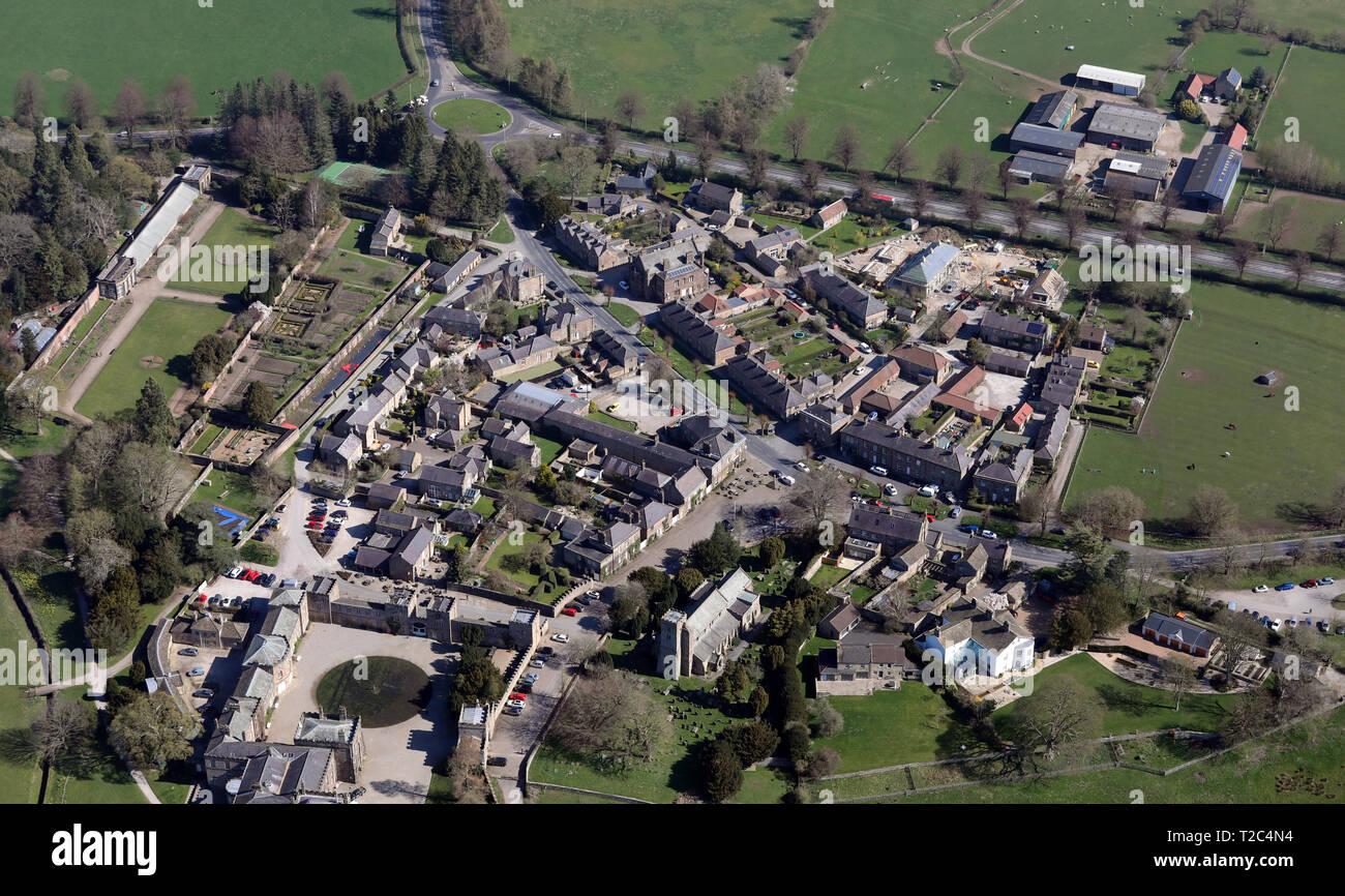 Vue aérienne du village de Ripley près de Harrogate, North Yorkshire Photo Stock