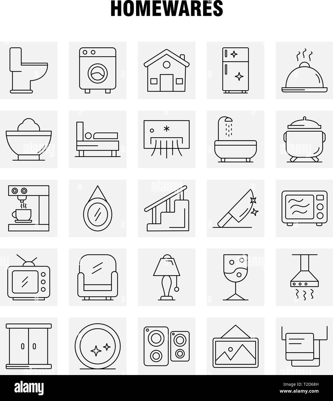 kit accueil salle de bain Accueil produits Line Icons Set pour lu0027infographie, Mobile UX-UI Kit et  Print Design. Comprendre : les appareils, Home, Home, Maison, Pan, salle de  bains, ...